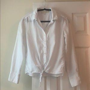 Cloth & Stone white tie front button down, sz. S